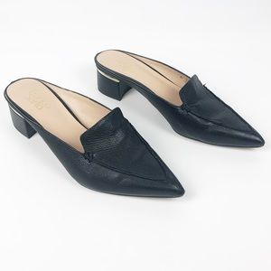 Franco Sarto Pebbled Leather Black Mules